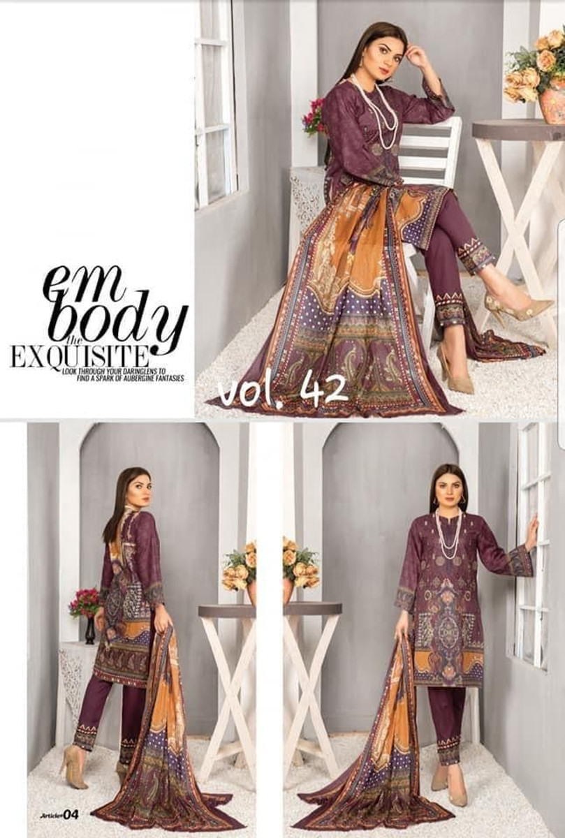 Modern Embroidered Lawn Vol-42 M04