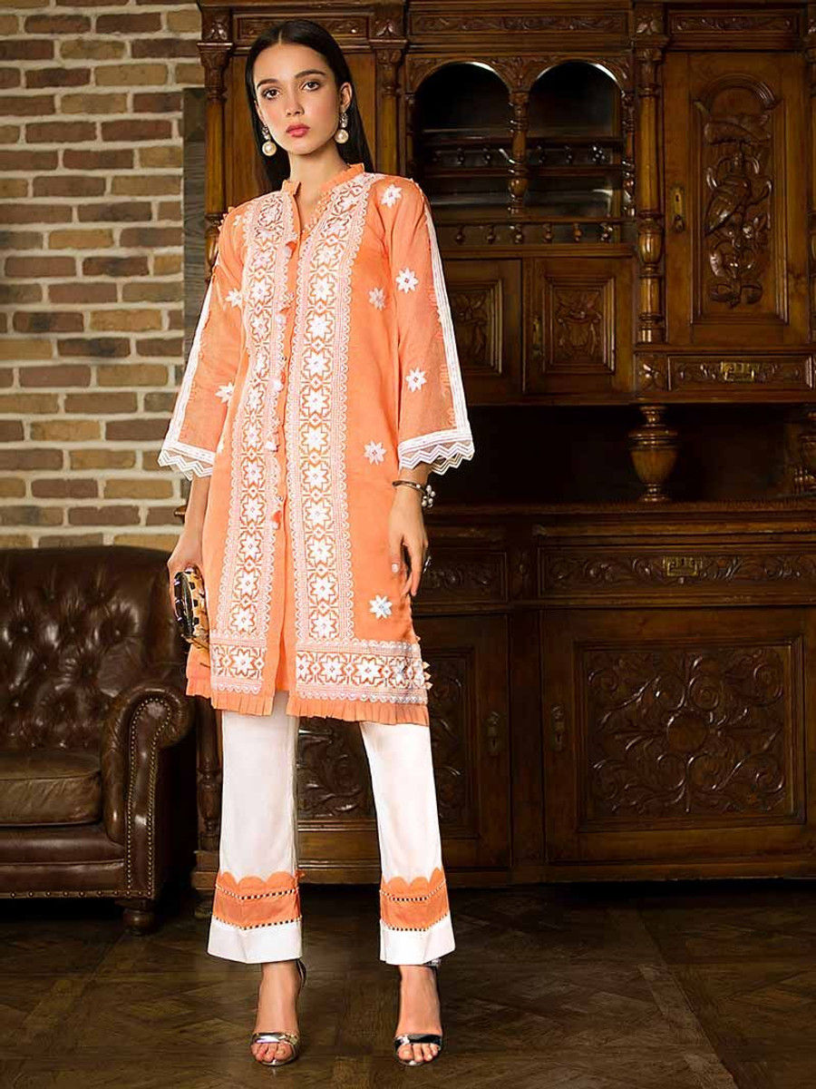 Gul Ahmed Embroidered Zesty Peach PST-01