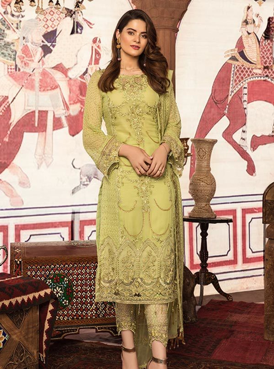 Feeha Embroidered Chiffon 12 Regal Lime