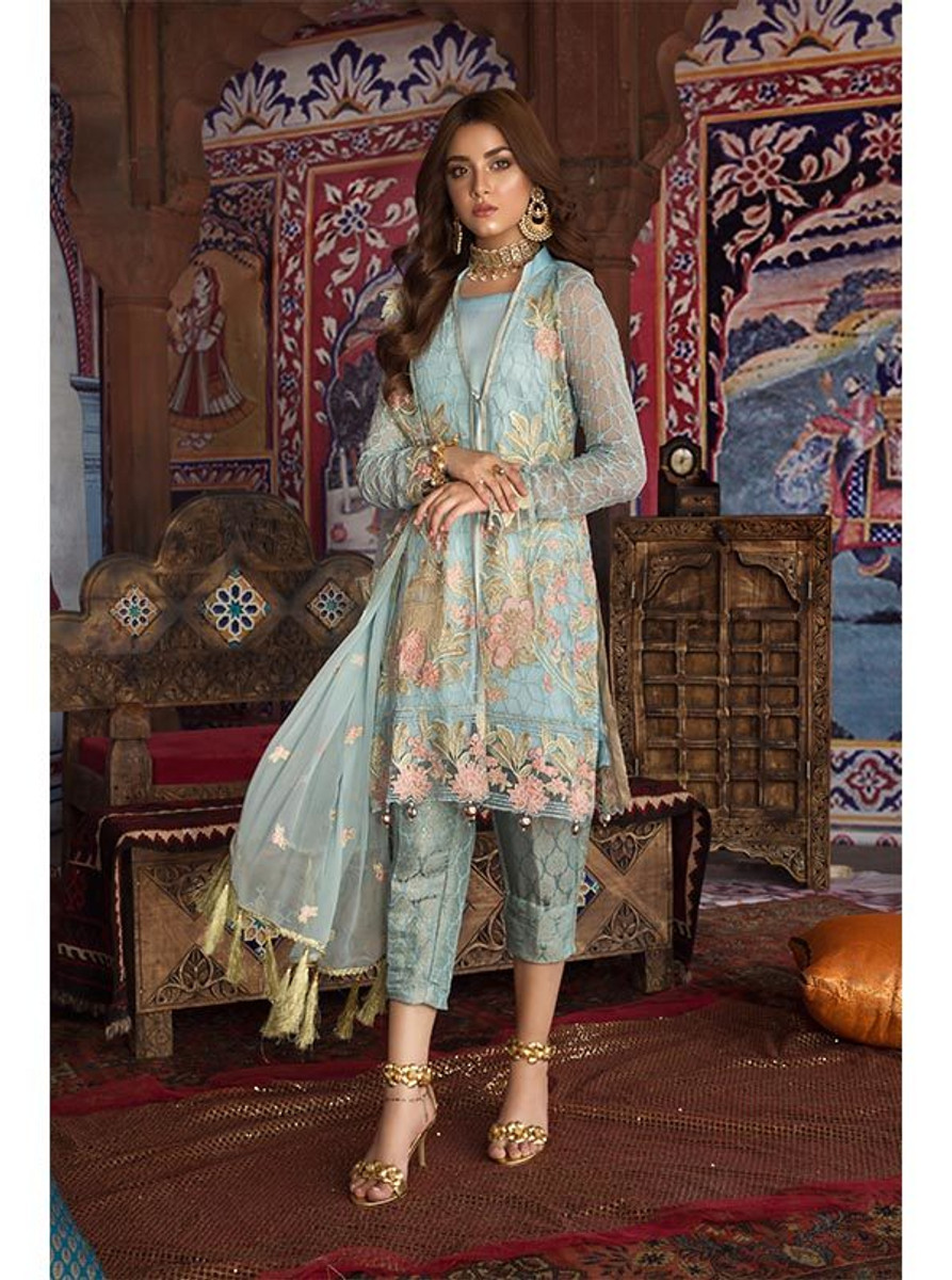 Feeha Embroidered Chiffon 09 Blue Heaven