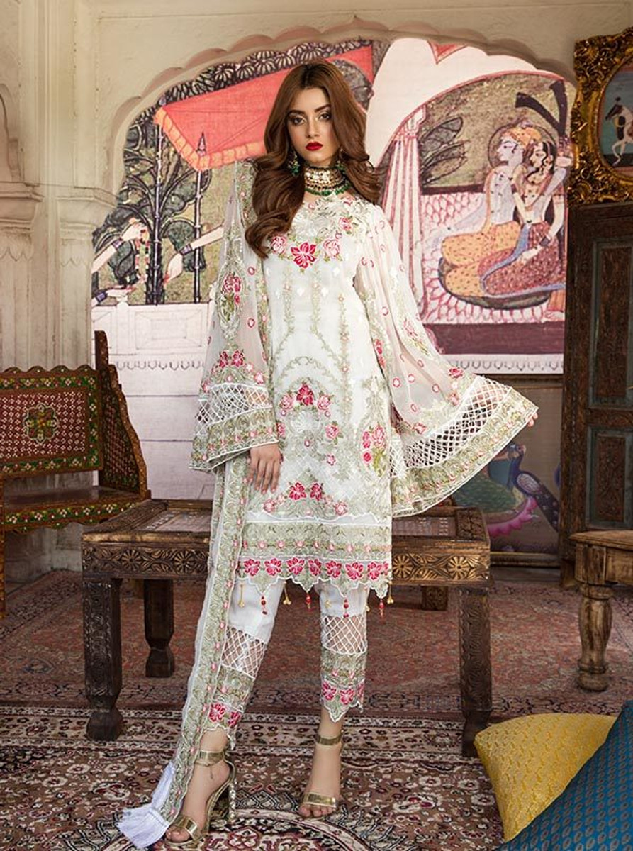 Feeha Embroidered Chiffon 07 White Shimmer
