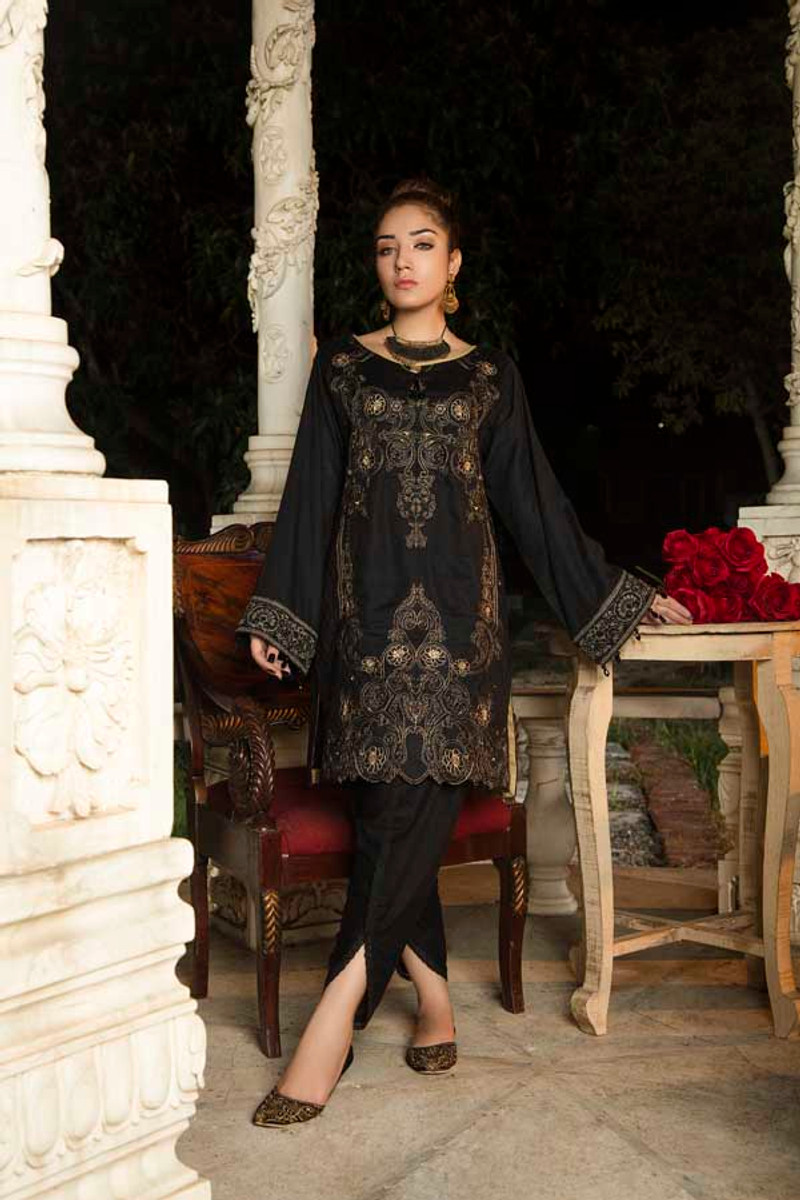 Muzayyan Embroidered Kurti Metallic Black ALM 20