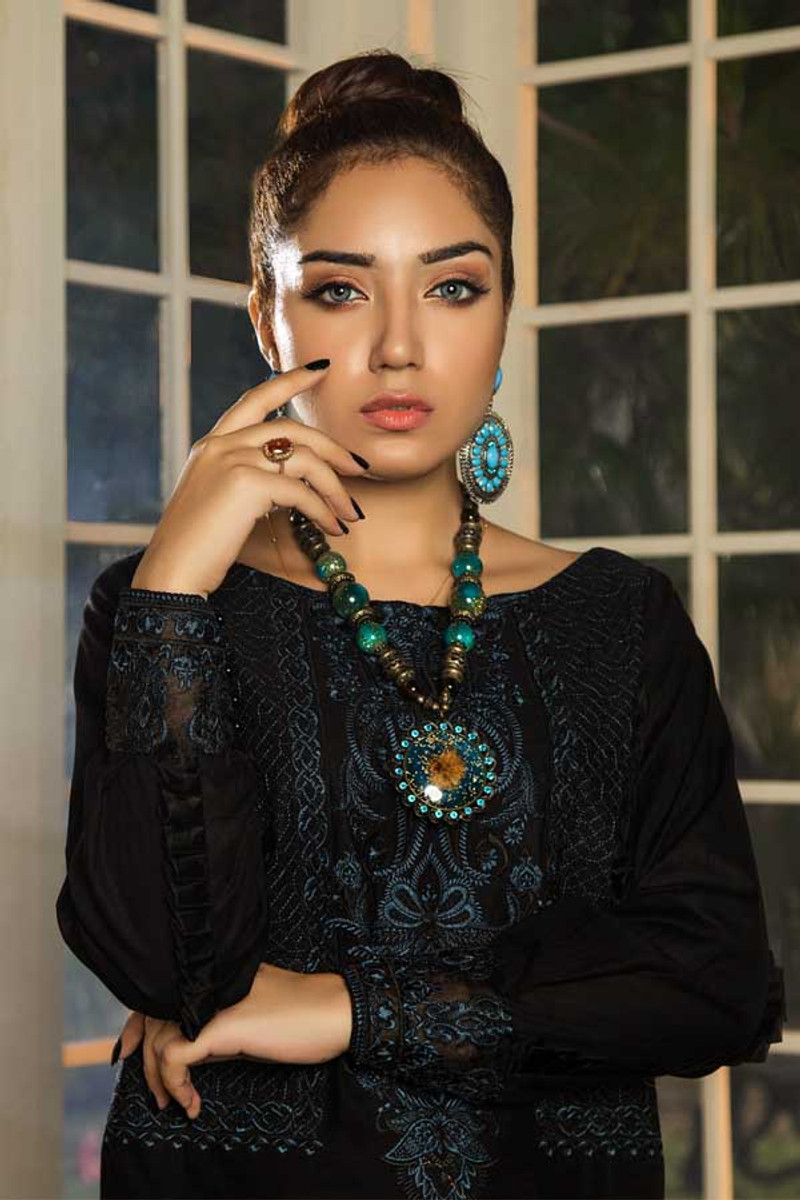 Muzayyan Embroidered Kurti Blue Berry ALM 13