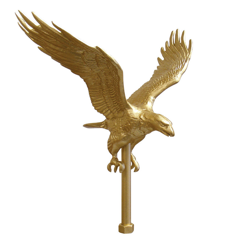"""11.25"""" Wing Span Gold Flying Eagle Aluminum Flagpole Ornament"""