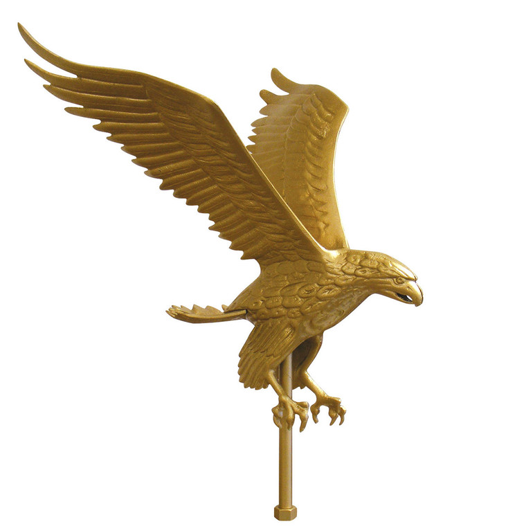 """15"""" Wing Span Gold Flying Eagle Aluminum Flagpole Ornament"""