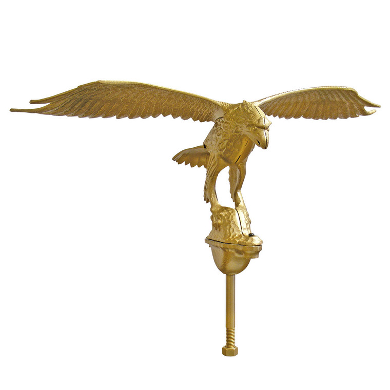"""24"""" Wing Span Gold Flying Eagle Aluminum Flagpole Ornament"""