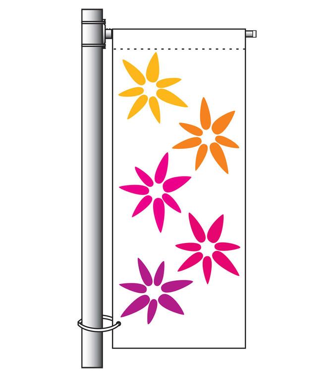 Single Arm Banner Mounting Set - w/ Top Crossbars & Bottom Strap