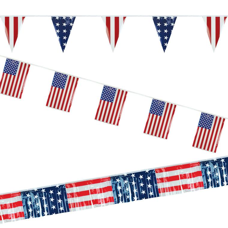 American Flag Poly Pennant Strings