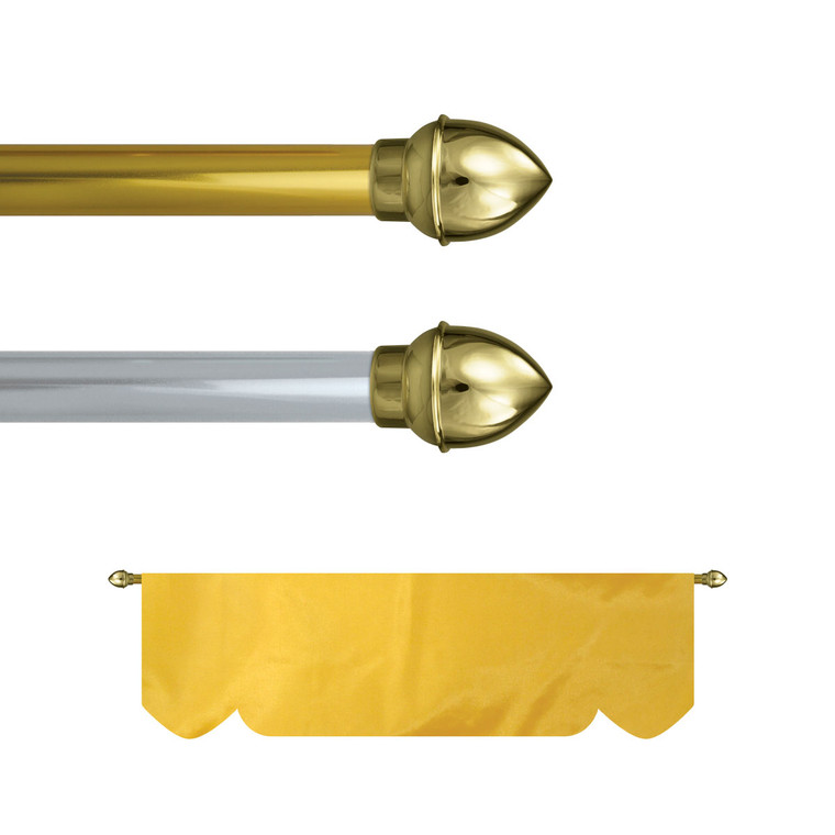 Budget Aluminum Lead Banner Poles w/ 2 Gold Plated Plastic Acorn Ornaments