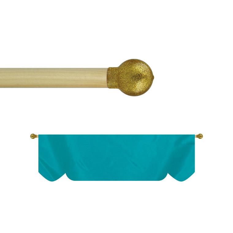 Budget Wood Lead Banner Poles w/ Gold Vinyl Ball Ornament