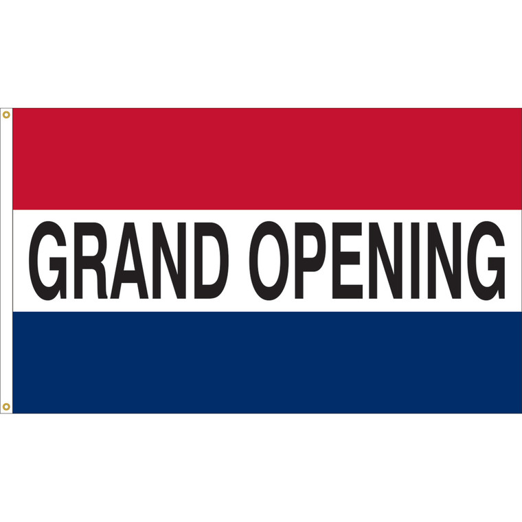3' x 5' - GRAND OPENING - Red/White/Blue Message Flag