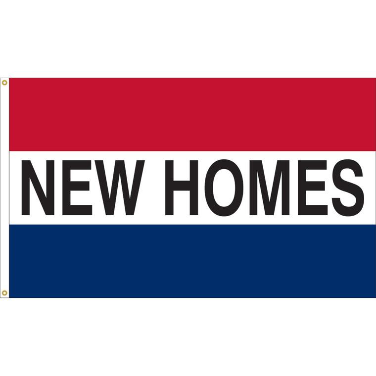 3' x 5' - NEW HOMES - Red/White/Blue Message Flag