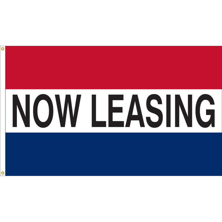 3' x 5' - NOW LEASING - Red/White/Blue Message Flag