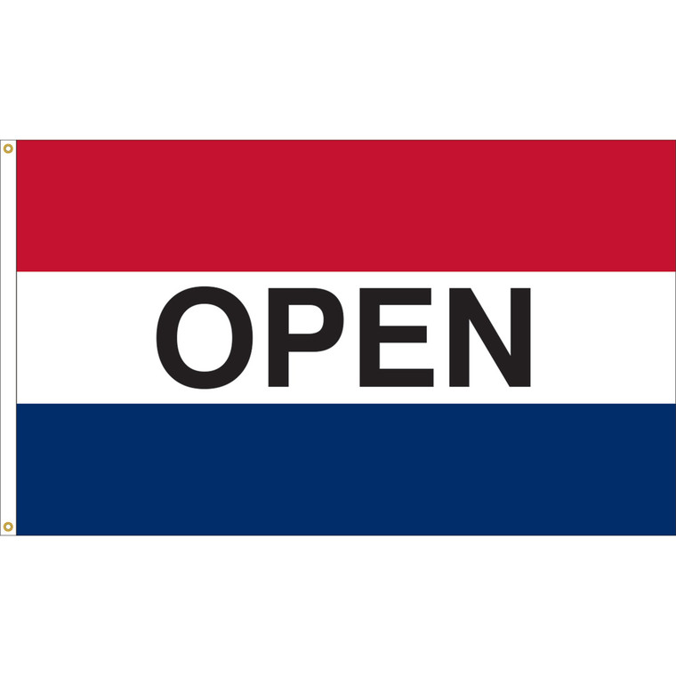 3' x 5' - OPEN - Red/White/Blue Message Flag