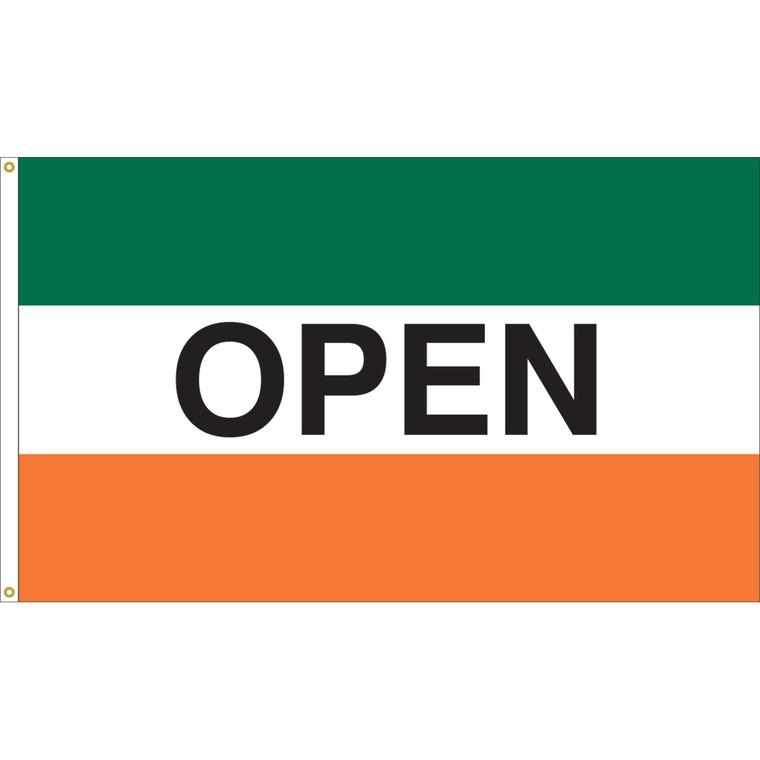 3' x 5' - OPEN - Green/White/Orange Message Flag
