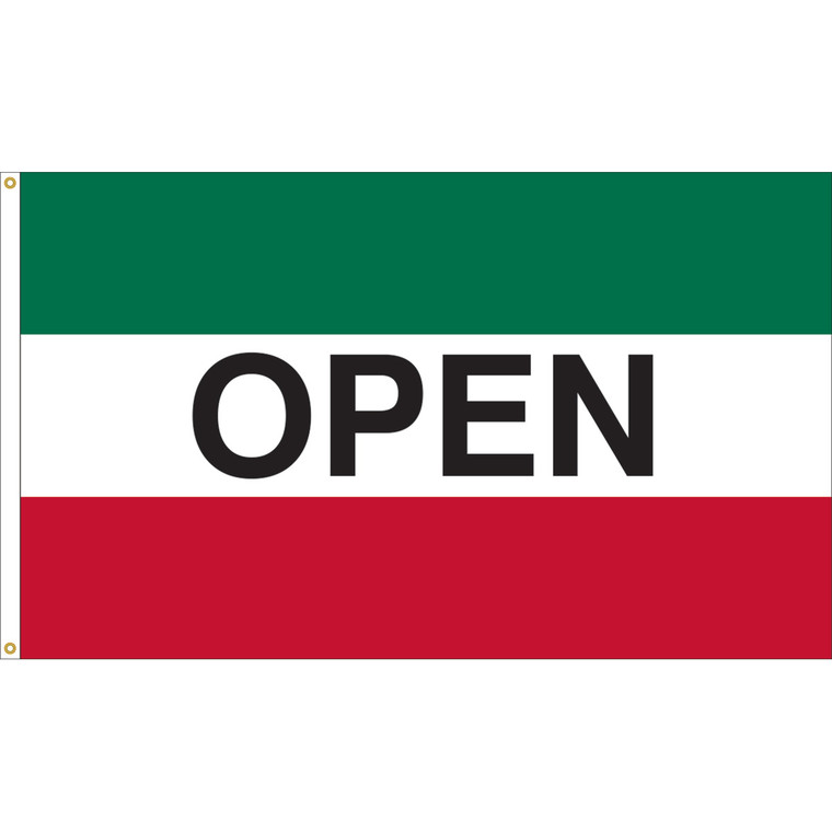 3' x 5' - OPEN - Green/White/Red Message Flag