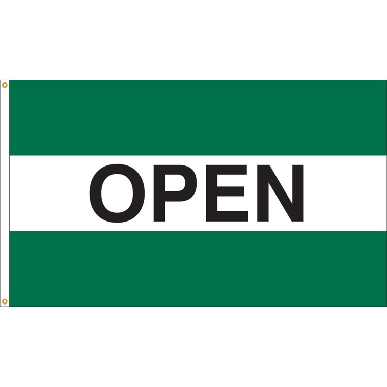 3' x 5' - OPEN - Green/White/Green Message Flag