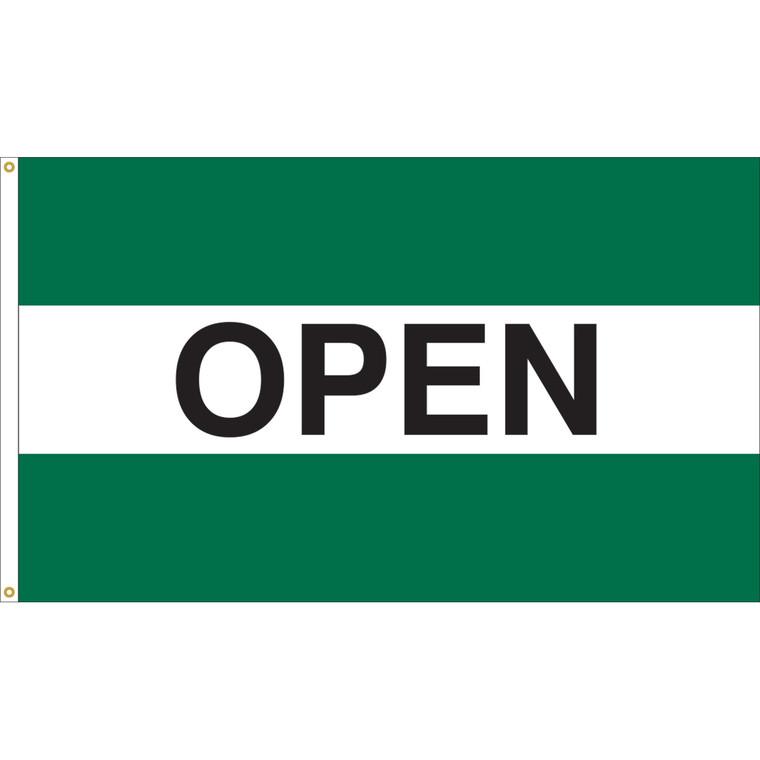 3' x 5' - OPEN - Green/White/Green Message Flag