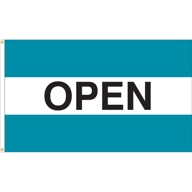 3' x 5' - OPEN - Teal/White/Teal Message Flag