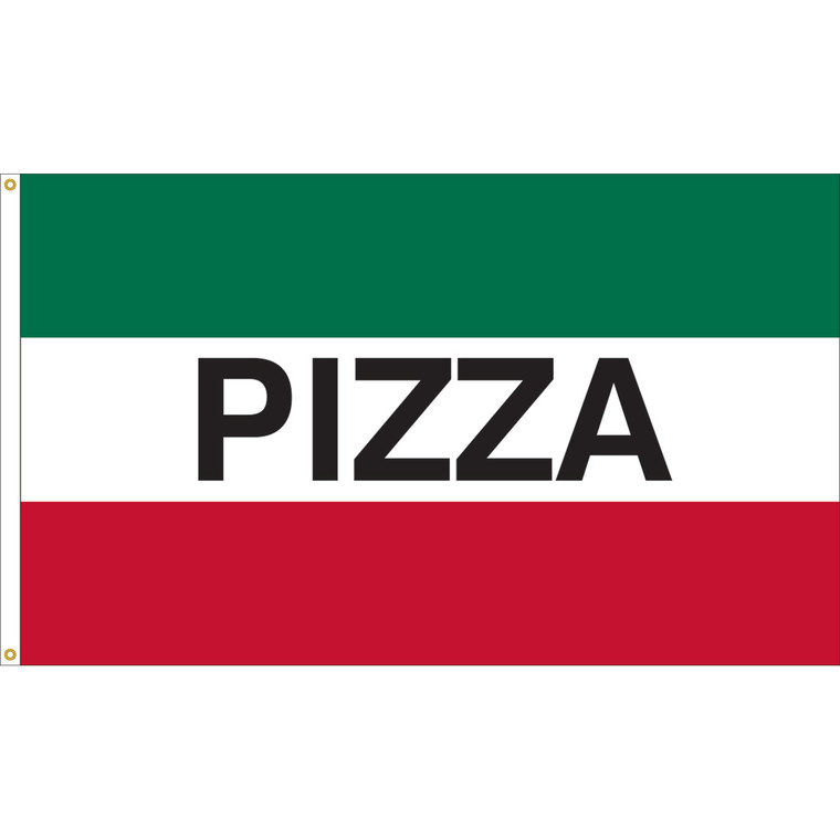 3' x 5' - PIZZA - Green/White/Red Message Flag