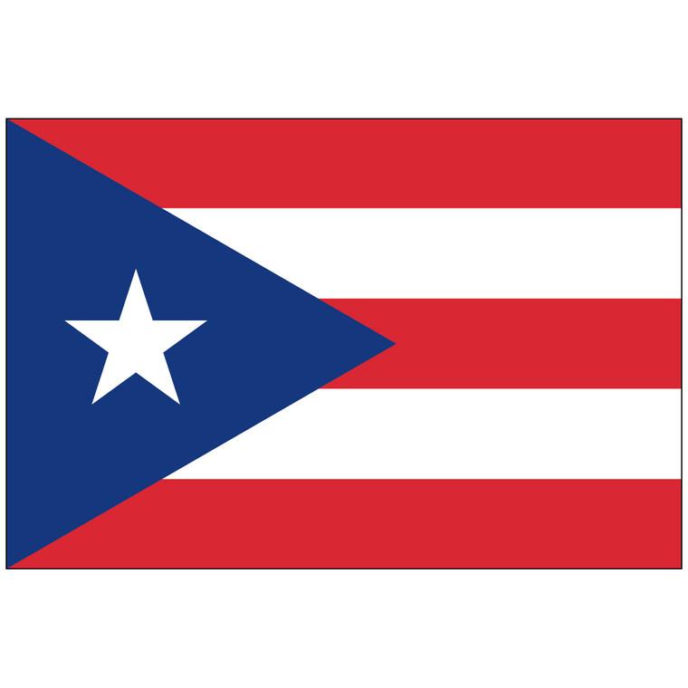 Puerto Rico Flag with Pole Hem