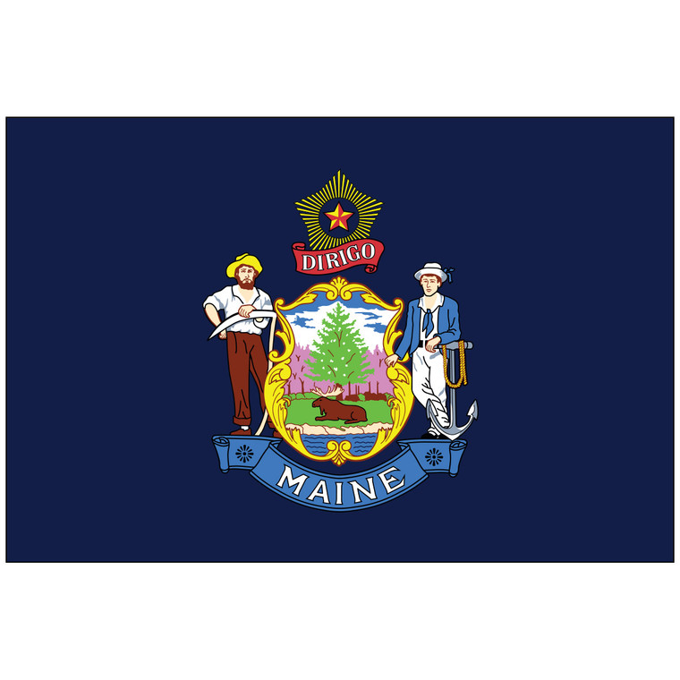 Mounted Maine Flag