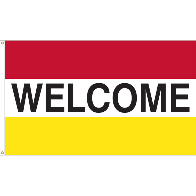 3' x 5' - WELCOME - Red/White/Yellow Message Flag