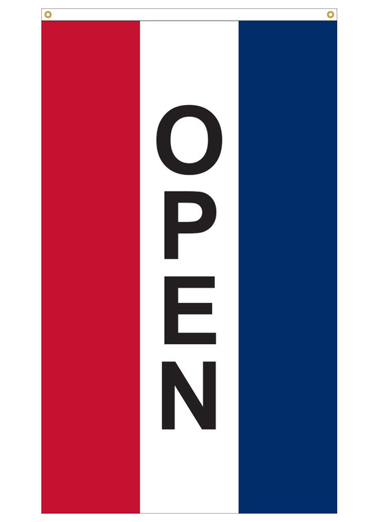 5' x 3' - OPEN - Red/White/Blue Vertical Message Flag