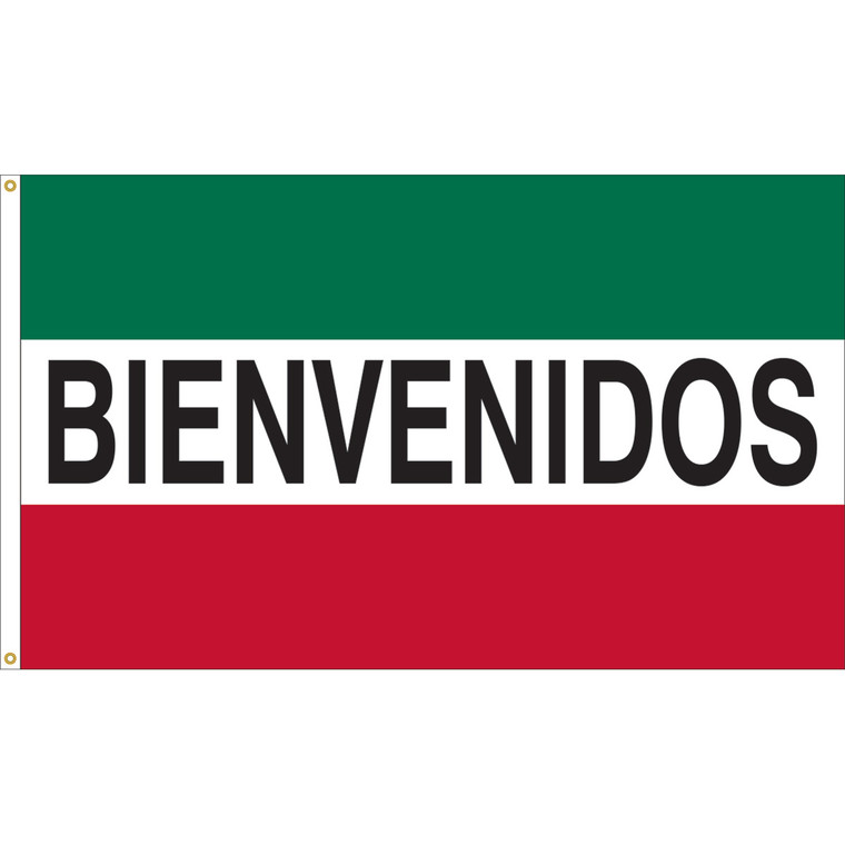 3' x 5' - BIENVENIDOS - Green/White/Red Message Flag