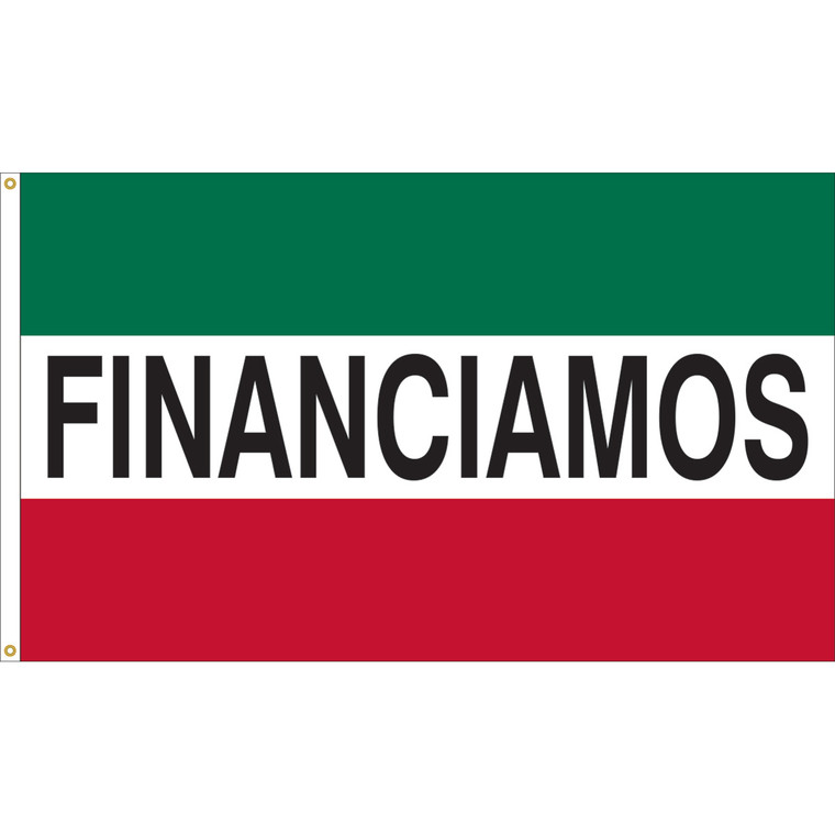 3' x 5' - FINANCIAMOS - Green/White/Red Message Flag
