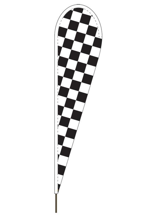 Black & White Checkered - Heavy Duty Teardrop Flag