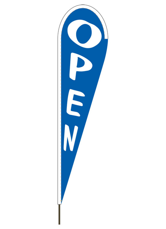 """10' x 30"""" OPEN - Blue - Heavy Duty Teardrop Flag"""