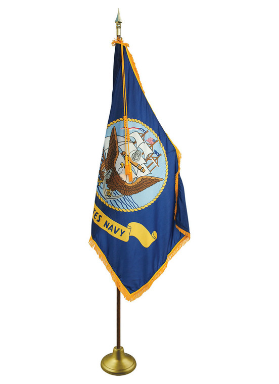 Navy Indoor/Parade Flags with Pole Hem