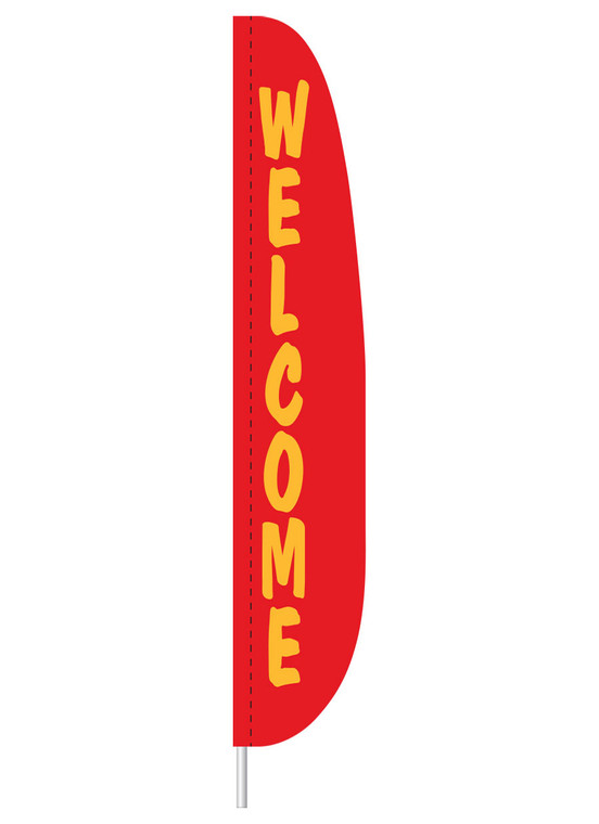 Welcome - Red - Heavy Duty Feather Flag