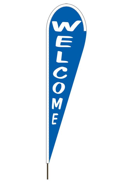 """10' x 30"""" WELCOME - Blue - Heavy Duty Teardrop Flag"""