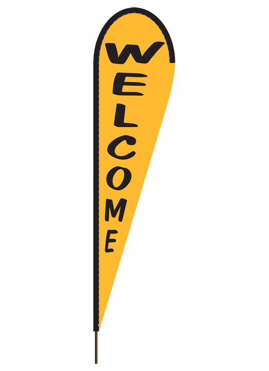 "10' x 30"" WELCOME- Spanish Yellow - Heavy Duty Teardrop Flag"