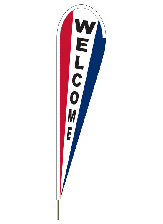 "10' x 30"" WELCOME - Red/White/Blue - Heavy Duty Teardrop Flag"