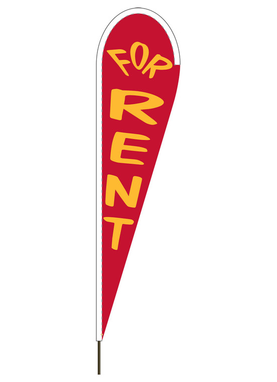 "10' x 30"" FOR RENT - Red - Heavy Duty Teardrop Flag"