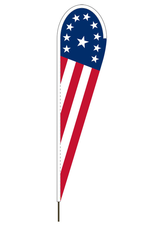 "10' x 30"" PATRIOTIC - Heavy Duty Teardrop Flag"