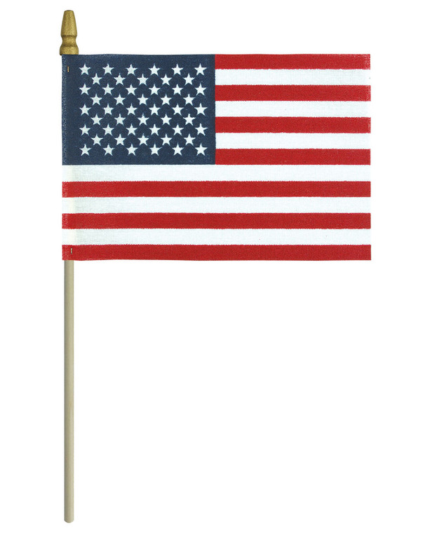 """4"""" x 6"""" - Gold Spear Tip - No-Fray Cotton - American Flag on a Stick"""