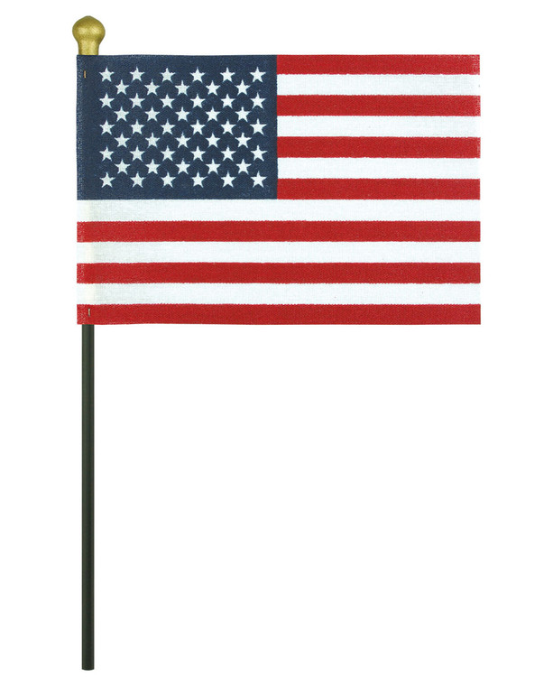 Black Staff - No-Fray Cotton Mounted American Flags