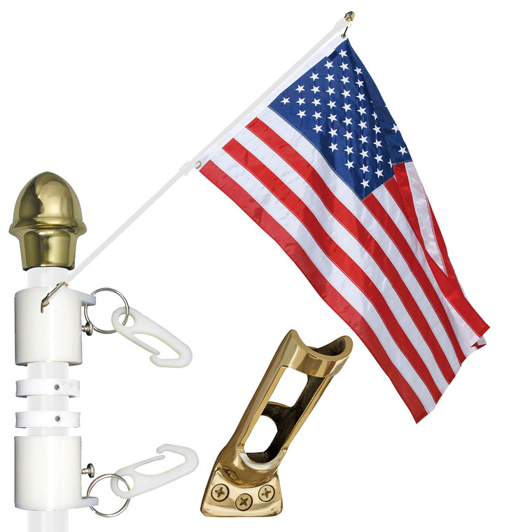 White - Presidential Wall Mounted Flag Set w/ Fiberglass Pole