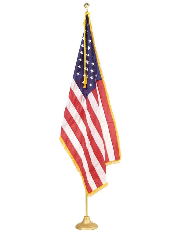 Auditorium Indoor American Flag Set with Adjustable Height Pole