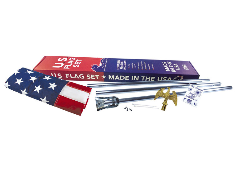 2' x 3' American Flag Wall Mounted Set