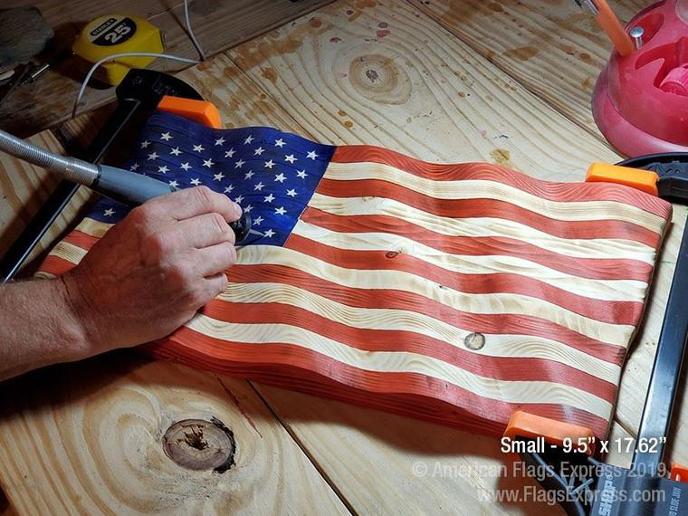 Rustic Wooden Waving Flag Sculpture