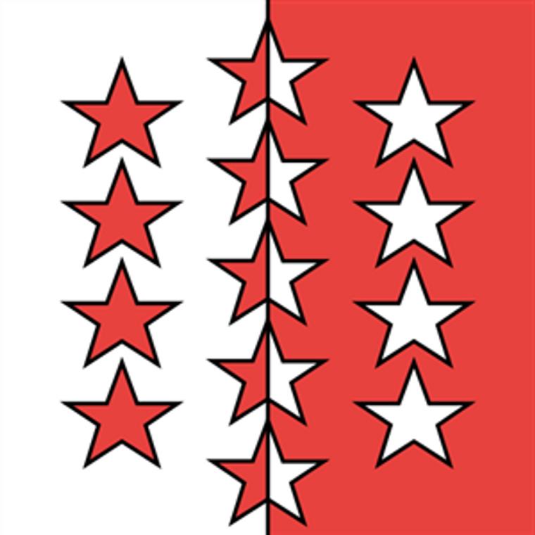 Swiss Canton of Valais E-Gloss 4'' x 4'' Flag