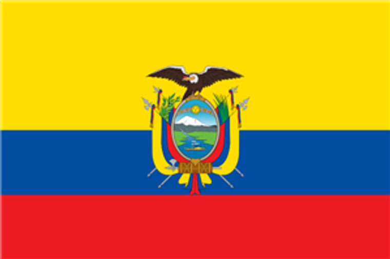 Ecuador w/Seal 12'' x 18'' E-Poly Flag with extra reinforcement on fly end