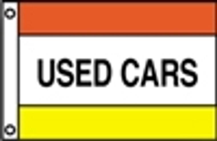 USED CARS - Orange/White/Yellow Message Flag