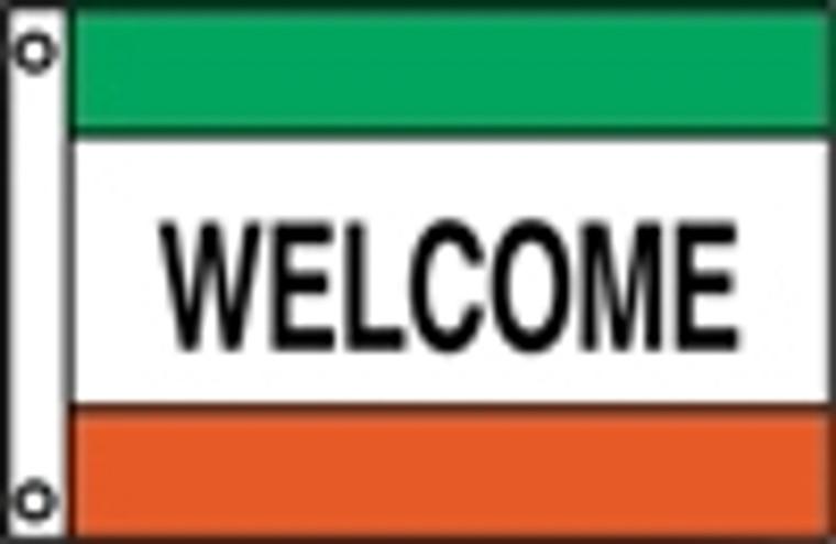 WELCOME - Green/White/Orange Message Flag