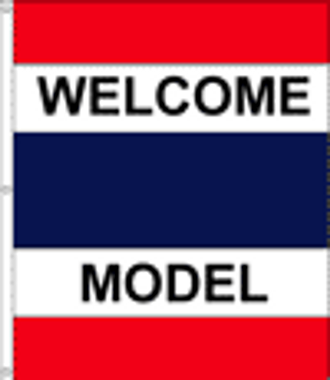 WELCOME - MODEL - 6'x5' Blue, Red & White Double Message Flag